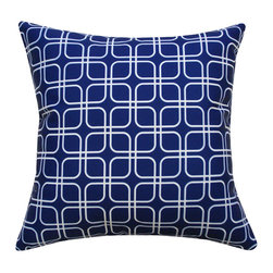 Divine Designs - Blue Indoor/Outdoor Geometric Pillow - This geometric pattern will add a global vibe to your backyard to fit any occasion