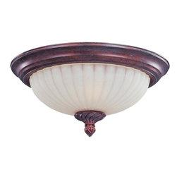 Joshua Marshal - Two Light Greek Bronze Soft Vanilla Glass Bowl Flush Mount - Two Light Greek Bronze Soft Vanilla Glass Bowl Flush Mount