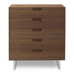 Blu Dot - Blu Dot Series 11 5 Drawer Dresser, Walnut - An elegant and refined approach with thin edges and thoughtful proportions. Subtle and inventive door pulls smoothly open and close drawers with contrasting FLW red interior. Graphite-on-oak or walnut with an alloy-plated stainless steel base. Series Eleven. When ten just isn't quite enough. Solid hardwood over engineered wood substrate with oak veneer, Red drawer interior (Frank Lloyd Wright red), Self-closing door hinges and drawer glides, Stainless steel base, Graphite on Oak: Stained rift-sawn white oak veneer