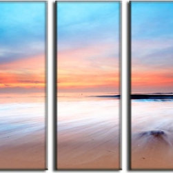 Vibrant Canvas Prints - Canvas Art Prints, Framed Huge Canvas Print 5 Panel Sea Beach Painting Wall Art - QUALITY CANVAS PRINT FRAMED AND READY TO HANG