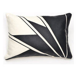Ankasa - Deco Belgian Chintz Pillow - Features: -Deco collection. -Color: Vanilla / Black. -Leather applique art deco.