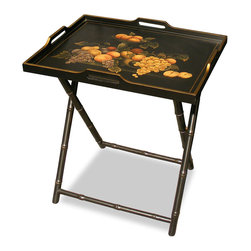 China Furniture and Arts - Bamboo Style Tray Table - This hand painted bamboo style tray table can be used anywhere in your room for afternoon tea or display other small objects. Tray sits on the foldable stand for easy storage. Fully assemble.