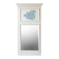 Karen Robertson - Sea Fan Trumeau Mirror by Karen Robertson - The traditional 18th century French tumeau mirror draws a new design with an delicate blue haze sea fan. The large scaled contemporary wall classic is designed for the sophisticated coastal space. (KR)
