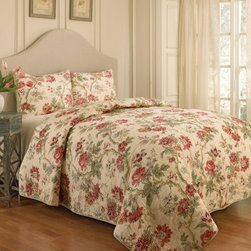 Waverly May Medley 3 Piece Quilt Set - A garden oasis comes home with the Waverly May Medley 3 Piece Quilt Set. A sophisticated way to freshen the look of any bedroom, this set features a large-scale garden flower pattern in red, cream, and green. The set includes a quilted coverlet and two pillow shams. All pieces are machine-washable and may be tumbled dry on low.Quilt Dimensions:Queen: 90L x 90W in.King: 90L x 106W in.About Ellery HomestylesOffering curtains, bedding, throws, and specialty products, Ellery Homestyles is a leading supplier of branded and private-label home-fashion products. Their products deliver innovation in fashion, function, and design and include names like Eclipse™, Curtainfresh™, SoundAsleep™, ComfortTech™, Vue™, and Waverly. Their 357,000 square foot facility in Lumber Bridge, North Carolina includes a high-speed pillow filling operation with a capacity of approximately 40,000 pillows a week.