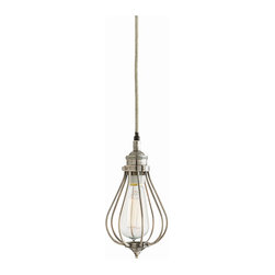 Arteriors - Derek Pendant - Hang a few of these for task lighting in your kitchen. The vintage silver cage surrounds an Edison bulb for a retro-contemporary look. This would also be a great look in your entryway or cluster several over your dining table to create your own chandelier.