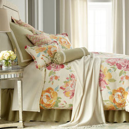 "Legacy Home - Legacy Home Queen Floral Duvet Cover, 90"" x 96"" - A zigzag pattern adds punch to watercolor-like floral bed linens in pretty sorbet hues. Sage accessories with ivory detailing tie it all together. Handcrafted in the USA by Legacy Home. Dry clean. Floral linens are linen/rayon blend. Duvet covers hav..."