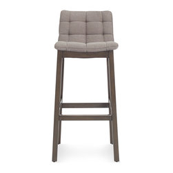 Blu Dot - Blu Dot Wicket Barstool, Pewter - Wicket good. A tufted cushion is cradled by a solid wood frame to create a pillow like seating experience. As attractive from the back as it is from the front, a notched cutout at the top of the stool makes moving it around a cinch. Available in side chair, lounge chair, barstool & counterstool.Iron, Sand: 50% Polyester / 43% Cotton / 7% Linen blend upholstery, Pewter, Purple: 100% Polyester upholstery , High density foam cushion , Solid ash with smoke stain