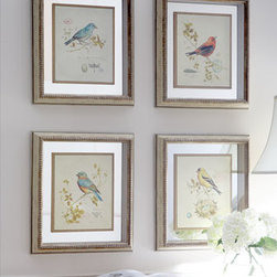 "Horchow - Four Songbird Prints - Set of four vintage-style prints depicts a variety of songbirds. Each print is floated on a mirror backing with gold fillet accent in a shadowbox frame. Sold as a set. 17""W x 2.5""D x 19""T. Made in the USA of imported materials. Boxed weight,...."