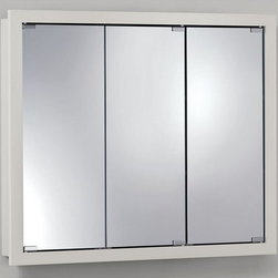 Broan-NuTone - Broan-Nutone Granville Tri-View 36W x 30H in. Surface Mount Medicine Cabinet - 7 - Shop for Bathroom Cabinets from Hayneedle.com! The Broan-Nutone Granville Tri-View Surface Mount Medicine Cabinet - 36W x 30H in. is a vast storehouse for your guests to root through should they be in need after politely excusing themselves. With two fixed shelves about 4 inches deep each there's not a lot of bathroom items that you can't keep here. Add to that the solid dowel and glue construction and quality laminate - you've got a fine medicine cabinet here. Available in classic white and a charming honey oak laminate.About Broan-NuToneBroan-NuTone has been leading the industry since 1932 in producing innovative ventilation products and built-in convenience products all backed by superior customer service. Today they're headquartered in Hartford Wisconsin employing more than 3200 people in eight countries. They've become North America's largest producer of medicine cabinets ironing centers door chimes and they're the industry leader for range hoods bath and ventilation fans and heater/fan/light combination units. They are proud that more than 80 percent of their products sold in the United States are designed and manufactured in the U.S. with U.S. and imported parts. Broan-NuTone is dedicated to providing revolutionary products to improve the indoor environment of your home in ways that also help preserve the outdoor environment.