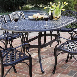 HomeStyles - Outdoor Dining Table in Black (Black) - Finish: BlackChairs not included. Oval shape. UV resistant and powder coated. Top designed to prevent damage caused from pooling by allowing water to pass through freely. Adjustable and nylon glides prevent damage to surfaces caused by movement and provide stability on uneven surfaces. Stainless steel hardware. Made from cast aluminum. 42 in. L x 72 in. W x 28.5 in. H. Warranty. Assembly InstructionsA cost-effective alternative to cast iron, home styles outdoor dining collection gives you the beauty of ornately designed pieces.