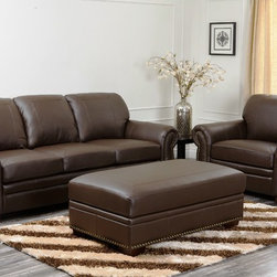 Abbyson Living - Abbyson Living Signature Italian Leather 3-piece Sofa Set - Add the look of luxury to your living room with this beautiful leather sofa set that includes plush no-sag cushions. The three-piece set, featuring brass nail head trim, includes a large dark brown sofa, chair, and an ottoman that opens for storage.