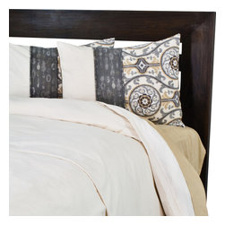 """Sands - Chooty - Susan's King Duvet with 2"""" Topstitched Fold Over and 2 Suzani Shams - This soft, comfy Duvet Set will make a simple yet stylish addition to your room.  The neutral color of the duvet is embellished by 2 shams with a trendy medallion design in hues of brown, tan, and grey on an ivory background. This beautiful bedding will add a touch of sophistication to your bedroom. (King Size - 100""""W x 94""""L)"""