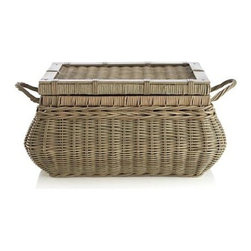 Montpellier Lidded Basket - Expertly handwoven rattan basket exhibits exquisite detail, pairing distinct weaves and wrapped accents that are given a soft, sophisticated grey wash finish. Lidded basket effortlessly contains clutter while doubling as a beautiful decorative piece.