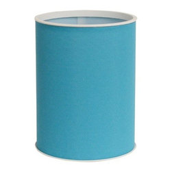 Lamont Home - Brights Round Wastebasket Peacock - Made from high quality PVC/Polyester fabric, these traditional styles have been updated in a wide range of patterns to match any decor. A vinyl lid with metal grommet completes the look for the hamper. A very durable product that adds style to any laundry room.