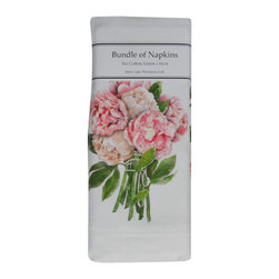 Peonies Linen Napkins - No need for a centerpiece with these floral beauties!