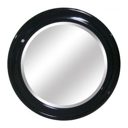 YOSEMITE HOME DECOR - Round Black Framed Mirror - Mirror with Sleek High-gloss Black Finish Wood Frame