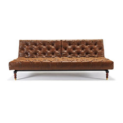 Innovation USA - Innovation USA Oldschool Chesterfield Sofa - Mocha Wood legs - Vintage Brown Lea - Fresh and contemporary Chesterfield sofa with multifunctions and modularity.