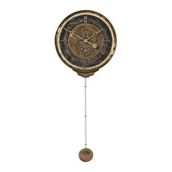 Uttermost - Leonardo  Chronograph Black - This Best Seller is crafted of a weathered, laminated clock face with a cast brass outer rim,