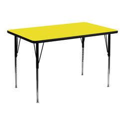 Flash Furniture - Flash Furniture 36 x 72 Rectangular Activity Table with 1.25 Inch Laminate Top - Flash Furniture's XU-A3672-REC-YEL-H-A-GG warp resistant high pressure laminate rectangular activity table features a 1.25'' top and a high pressure laminate work surface. This Rectangular high Pressure Laminate activity table provides an extremely durable (no mar, no burn, no stain) work surface that is versatile enough for everything from computers to projects or group lessons. Sturdy steel Legs adjust from 21.25'' - 30.25'' high and have a brilliant chrome finish. The 1.25'' thick particle board top also incorporates a protective underside backing sheet to prevent moisture absorption and warping. T-mold edge banding provides a durable and attractive edging enhancement that is certain to withstand the rigors of any classroom environment. Glides prevent wobbling and will keep your work surface level. This model is featured in a beautiful Yellow finish that will enhance the beauty of any school setting. [XU-A3672-REC-YEL-H-A-GG]