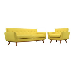 Modway Imports - Modway EEI-1344-SUN Engage Armchair and Sofa Set of 2 In Sunny - Modway EEI-1344-SUN Engage Armchair and Sofa Set of 2 In Sunny