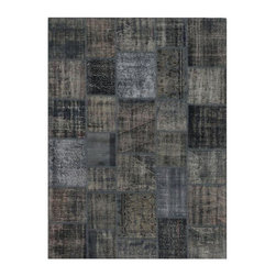 """Pre-owned Deep Grey Overdyed Turkish Patchwork Carpet - Traditional Turkish patterns from an assortment of vintage pieces mix to make this hand made, naturally distressed vintage rug. Full cotton backing and decorative blanket stitch edging.    Remnants of vintage wool on a cotton warp, made entirely by hand in the '60's through '80's when Turkish women still included weaving in their daily homemaking chores. Employing the sturdy double knot technique unique to Turkish rugs, multicolor floral and medallion motifs were created a row at a time using bright hand dyed wools. Considered too old fashioned for modern Turkish homes in their traditional incarnations, these rugs have languished in back rooms of the bazaars‰Ű_until now, as these fragments in excellent condition are overdyed and combined to create modern patchwork statements for the floor.    Note from the seller: """"Our revitalization process keeps rugs that may otherwise get tossed out of landfill. Repurposed discards are helping artisans connect and create, supporting the community we're building here in Istanbul to revive vanishing traditional fiber crafts.‰Űť    Please note that all sales are final - These amazing rugs are coming direct from Istanbul, Turkey and returns will not be allowed."""