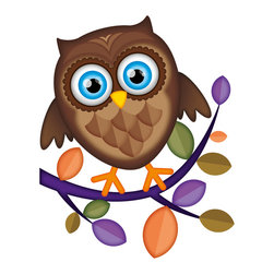 Boys room wall decor - Meet Mr. Owl. He comes in brown or purple. Makes a great pair for his bedroom wall. Available as a wall decal, notebook sticker or canvas giclee print.