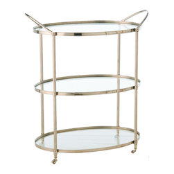 Kathy Kuo Home - Connaught Polished Nickel Oval Modern Bar Serving Cart - Classic Art Deco design and luxurious materials come together to form three perfect circular glass platforms, making this bar cart as much a piece of art as a functional, rolling round table. With two handles for easy transport, you'll be toasting its great style for decades.