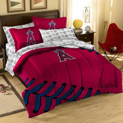 Northwest Co. - MLB Angels Bed in Bag Set - Make your room announce your love for Americas favorite pasttime sport.  Our MLB 7 piece Bed in a Bag Sets make an ideal central point for all your other team gear.  Whether game night or just another night for sleeping, the bold and large applique logo stands out against the solid color background and baseball stitching motiff, making quite the impression. This polyester/cotton blend set comes with 2 sham, 2 pillowcase, 1 flat sheet, 1 fitted sheet and 1 applique comforter.