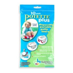 Kalencom - Potette Plus Trainer Seat Liner Refills (Package of 10) in Light Blue - For use with the Potette Plus potty (sold separately), these disposable liners hold up to 5-ounces of liquid, are lightly scented to absorb odors, have handles that secure to the potty and tie closed for disposal.