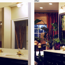 Frame your mirrors! - Adding a frame to your existing vanity mirror can take it from blah to bling!