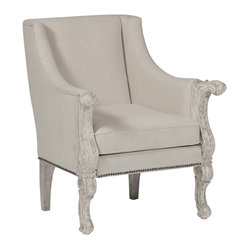 Kathy Kuo Home - Augusta Cream Linen French Country Carved Wood Occasional Arm Chair - The Augusta chair is beautiful replica of an 18th century French chair. Featuring antique brass nail heads along the bottom of the cream linen fabric, this piece is a perfect occasional chair, or a wonderful statement chair at the ends of a dining table.