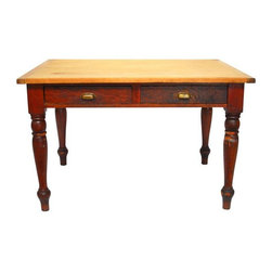 Pre-owned Antique French Pine Farm Dining Table - Antique French pine farm table with two drawers. Top of table is solid slab of natural finish pine and bottom portion is stained. Drawers have vintage brass hardware, and table is constructed with old world peg joinery. This table sits on turned legs and is rustic with lots of scratches and chips on the finish. Very heavy and sturdy with a lovely patina. Estimated to be circa 1880.