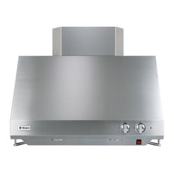 "GE Monogram - GE Monogram® 30"" Stainless Steel Professional Hood - A GE Monogram range hood provides the power necessary to capture the smoke and steam produced by high-performance cooking equipment. All hoods are equipped with a variable-speed fan that helps reduce energy usage and sound levels by operating continuously at a low speed, reaching maximum power only as needed for boiling, sautéing and stir-frying."