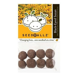 Seedballz Black-eyed Susan - 8 Pack - Plant fun with Seedballz! Inspired by soil scientist Masanobu Fukuoka, author of  The One -Straw Revolution , SeedBallz began mixing a special blend of rich organic humus, a whole packet of seeds and clay to offer the gardener a new way to grow wildflowers and herbs. SeedBallz are so unique, they grow in clusters rather than single seeds! These little balls are made of an all-natural mixture of seeds, red clay, and soil humus. The clay protects the seeds from drying out and being taken by birds or insects. This pack of Seedballz is packed with black-eyed Susan seeds and rolled in an all-natural, protective growing blend designed to nourish your flowers. Adults with developmental disabilities prepare and package each ball by hand, right here in the USA. Each package contains 8 SeedBallz.