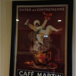 Large Framed Cafe Martin Wall Art- Austin - This French Cafe Martin poster is a great addition to an office or a game room! To see more about this peice go to Red Chair Market.