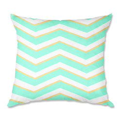DiaNoche Designs - Pillow Woven Poplin - Monika Strigel Caribbean Summer Flower Mint Chevron Yellow - Toss this decorative pillow on any bed, sofa or chair, and add personality to your chic and stylish decor. Lay your head against your new art and relax! Made of woven Poly-Poplin.  Includes a cushy supportive pillow insert, zipped inside. Dye Sublimation printing adheres the ink to the material for long life and durability. Double Sided Print, Machine Washable, Product may vary slightly from image.