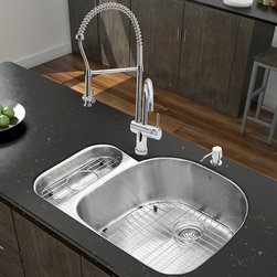 """Vigo - All in One 32"""" Undermount Stainless Steel Kitchen Sink & Chrome Faucet Set - Enhance the look of your kitchen with a VIGO All in One Kitchen Set featuring a 32"""" Undermount kitchen sink, faucet, soap dispenser, matching bottom grids and strainers.; The VG3321R double bowl sink is manufactured with 18 gauge premium 304 Series stainless steel construction with commercial grade premium satin finish; Fully undercoated and padded with a unique multi layer sound eliminating technology, which also prevents condensation.; All VIGO kitchen sinks are warranted against rust; Exterior Measures: 31 3/4""""W x 21""""D; Larger bowl's interior dimension: 21 1/2""""W x 19""""D; Smaller bowl's interior dimension: 7""""W x 14 1/4""""D; Bowl depth: 9"""" (larger bowl) and 5"""" (smaller bowl); Required interior cabinet space: 34""""; Kitchen sink is cUPC and NSF-61 certified by IAPMO; All mounting hardware and cutout template provided for 1/8"""" reveal or flush installation; The VG02006CH Kitchen faucet features a spiral pull-down spray head for powerful spray and separate spout for aerated flow, and is made of solid brass with a chrome finish.; Includes a spray face that resists mineral buildup and is easy-to-clean; High-quality ceramic disc cartridge; Retractable 360-degree swivel spout expandable up to 20""""; Single lever water and temperature control; All mounting hardware and hot/cold waterlines are included; Water pressure tested for industry standard, 2.2 GPM Flow Rate; Standard US plumbing 3/8"""" connections; Faucet height: 28""""; Spout reach: 8 5/8""""; Faucet sprayer reach: 12""""; Kitchen faucet is cUPC, NSF-61, and AB1953 certified by IAPMO.; Faucet is ADA Compliant; 2-hole installation with soap dispenser; Soap dispenser is constructed of solid brass with an elegant chrome finish and fits 1 1/2"""" opening with a 3 1/2"""" spout projection.; Matching bottom grids are chrome-plated stainless steel with vinyl feet and protective bumpers.; Sink strainers are made of durable solid brass in chrome finish; All VIGO kit"""