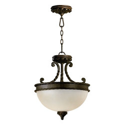 Quorum Lighting - Quorum Lighting Alameda Traditional Inverted Pendant Light X-68-51-6882 - Crafted in the tradition of Old-World European design, this Pendant Light from Quorum Lighting recalls the romance of centuries-old architectural detailing. Scrolling and rope-wound arms add a touch of feminity to the rustic creation. The etheral light radiates from the waxy pillar candle-style light source. The Oiled Bronze ironwork contrasts with the ivory hue of the pillar candles and create rich depth and a warm sensory experience.