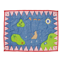 """Wingreen - WinGreen Small Pirate Shack Floor Quilt - Our giant 'Treasure Map' Floor Quilt is appliqued and embroidered with islands, a sunken ship and an 'X' marking the spot for buried treasure! These lightly padded floor quilts are designed to fit the base of WinGreen Pirate Shack Playhouses. They also make great rugs or playmats. Machine washable. Available in 2 sizes. Small: 43.30"""" x 29.13"""" and Large: 52.75"""" x 43.30"""""""