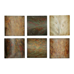 Uttermost Klum Collage Wall Art, Set/6 - Tones of red, yellow, aged green, rust brown gray with black undertones. This artwork is made of wood and may be hung in any order. The finish consists of tones of red, yellow, aged green, rust brown and gray over black undertones.