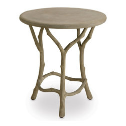 Currey and Company - Hidcote Side Table - The traditional technique of faux bois, involving hand-applying concrete over a metal mesh frame, is used to create this side table that appears to sprout and grow right out of the ground. The piece is completed with a warm Portland finish.
