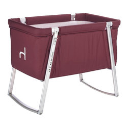 BabyHome - BabyHome Dream Portable Crib, Purple - Dream is an extremely lightweight cot with an aluminum frame that is easy to assemble/disassemble. Its innovative adjustable leg system allows, with the click of a button, to change the leg position from stationary to a rocker to wheels that allow Dream to be easily moved around the house. The fabric can be removed from the aluminum frame and washed. Dream comes with a high-density foam mattress that prevents the baby from getting caught between the edge of the mattress and side of the cot and a honeycomb structured mattress pad that is safe and breathable.