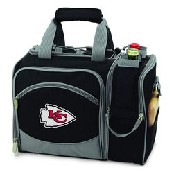 Picnic Time - Kansas City Chiefs Malibu Picnic Pack in Black - Insulated pack with picnic service for 2 made of 600D polyester canvas. The elegant and unique Malibu shoulder pack is perfect for picnics, concerts, or travel. This tote has an integrated wine storage section and a spacious food storage section with removable liner. The adjustable shoulder strap makes it easy to carry. A wonderful gift idea.; Decoration: Digital Print; Includes: 2 Wine glasses (acrylic), 2 Napkins (cotton 14 x 14 in.), 1 Corkscrew (waiter style stainless steel), 1 Cutting board (wood 6 x 6 in.), 1 Cheese knife (stainless steel w/wood handle), 2 Plates (melamine 9 in.), 2 Ea. Knives forks & spoons (stainless steel), 2 Napkins (cotton 14 x 14 in.)