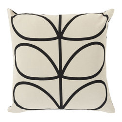 Open Bloom Throw Pillow in Black - Add whimsical interest to your space with this throw pillow. Made in Portugal, it's sure to add an energetic yet soothing vibe to any room. Toss one on a couch, chair, or bed for a comfy-cozy splash of design.