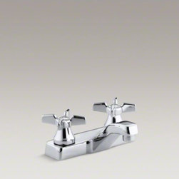 KOHLER - KOHLER Triton(R) centerset commercial bathroom sink faucet with vandal-resistant - With practical design and solid brass construction, Triton faucets are an exceptional value. Competitively priced Triton faucets feature washerless ceramic valving, a durable Polished Chrome finish and vandal-resistant index buttons and aerator. The two-h