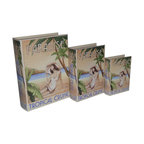 Cheung's - Home Set Of 3 Book Box With Vintage Tropical Cruise Theme Printed On Vinyl - Nested for Space Saving. Felt Lining.
