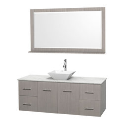 """Wyndham Collection - Centra Bathroom Vanity in Grey Oak,WT  Carrera Top,Pyra White Sink,58"""" Mir - Simplicity and elegance combine in the perfect lines of the Centra vanity by the Wyndham Collection. If cutting-edge contemporary design is your style then the Centra vanity is for you - modern, chic and built to last a lifetime. Available with green glass, pure white man-made stone, ivory marble or white carrera marble counters, with stunning vessel or undermount sink(s) and matching mirror(s). Featuring soft close door hinges, drawer glides, and meticulously finished with brushed chrome hardware. The attention to detail on this beautiful vanity is second to none."""