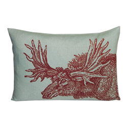 Kevin O'Brien Studio - Animal Friends Moose Pillow, Red/Topaz - These animals, illustrated by Kevin O'Brien, provide a pop of intrigue to any interior; design on front only; zip closure; comes with a feather/down insert