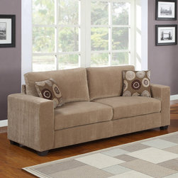 None - Colette Brown Corduroy Sofa - This 'Colette' sofa is upholstered in a soft corduroy fabric. Two included square throw pillows with an abstract circle design complement the understated yet sophisticated style of this sofa.