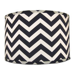 Doodlefish - Small Navy Chevron Shade - Chevron and Navy are two of the hottest trends. We combine both to create a cool and crisp barrel Lamp Shade. The shade is available in 12x12x10 and 14x14x11. All shades are made to order in the USA and have harp and finial style fittings